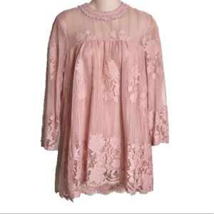 Pink lace3/4 sleeve  blouse L